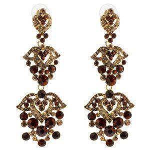 Gold & Red Rhinestones and Glass Dangle Earrings